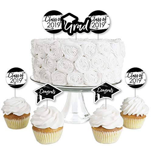 Black & White Grad - Best is Yet to Come - Dessert Cupcake Toppers - Black and White 2019 Graduation Party Clear Treat Picks - Set of 24 -