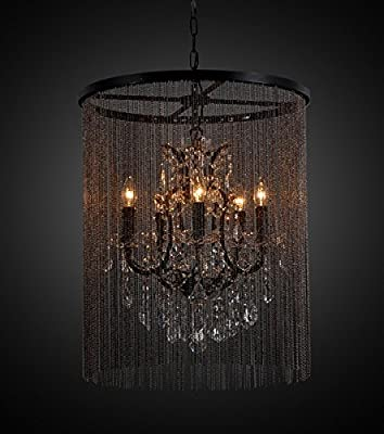 Bohemian, Vintage Inspired Vaille Crystal 5 Bulb Chandelier with Beaded Curtain
