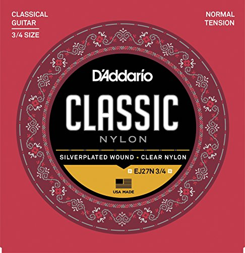 D'Addario EJ27N 3/4 Student Nylon Fractional Classical Guitar Strings, Normal (Acoustic Classical String Basses)