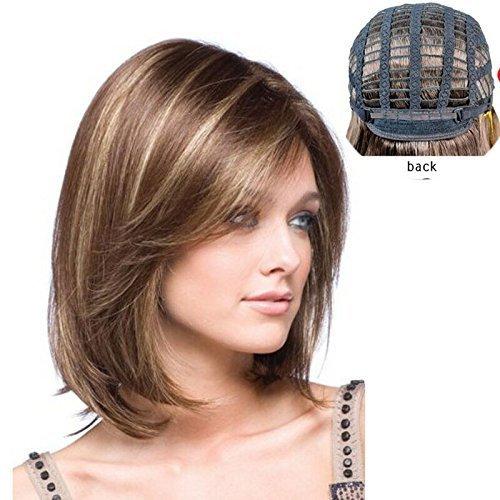 Peluca para mujer, de material sintético, pelo largo hasta el hombro, tan natural que parece pelo real. Colores castaño y dorado. de material sintético Alice