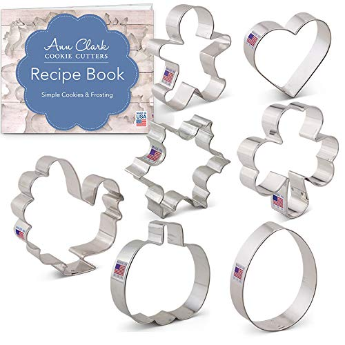 Cookie Cutters For Every Season Set with Recipe Book - 7 piece - Ann Clark - Tin Plated Steel All Season Cookie Cutter