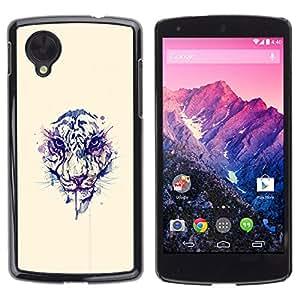 LECELL--Funda protectora / Cubierta / Piel For LG Nexus 5 D820 D821 -- Cara del tigre de la acuarela --
