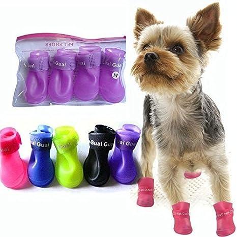 Pet s antideslizante Protección Lluvia Botas Zapatos para mascotas Gatos perro Puppy Waterproof Guantes