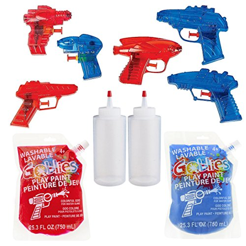 Washable Goblies Party Play Paint Teams Bundle Red and Blue, 6X Assorted Mini 3 Water Squirt Gun Blasters, 2 x 6-Ounce for Reload Squeeze Bottles for Quick Filling, for Fun Runs Or Special Events