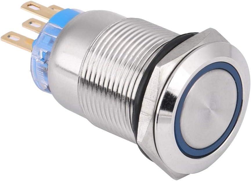 Blu Interruttore a pulsante 12V interruttore autobloccante a LED impermeabile per foro di montaggio 19mm//0,75