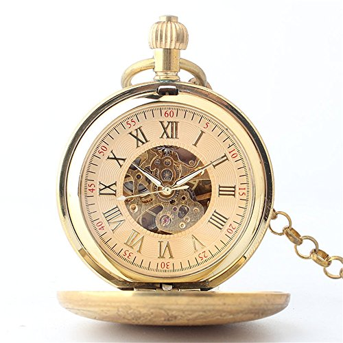 Zxcvlina Classic Smooth Creative Horse Carved Golden Retro Mechanical Pocket Watch with Chain for Unisex Birthday Gift Suitable for Gift Giving by Zxcvlina (Image #1)