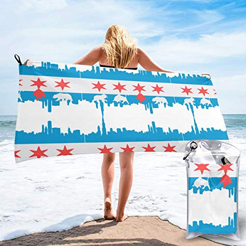 ZALAYUNI Microfiber Towel, Chicago Flag Printed Fashion Towels Fast Drying - Super Absorbent - Ultra Compact. Suitable for Outdoors,Travel,Camping,Gym,Pool,Swimmers - 2Sizes