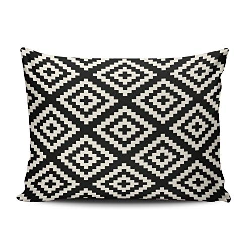 - ONGING Decorative Pillowcases Navajo Geometric Black and Cream Pattern Customizable Cushion Rectangle Boudoir Size 12x20 Inch Throw Pillow Cover Case Hidden Zipper One Sided Design Printed
