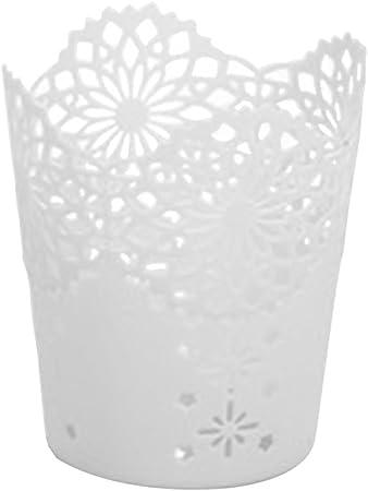 Doitsa 1pcs Hollow Blume Kunststoff stiftehalter Schreibtisch Lagerung Container Stiftek/öcher Desktop kleiner M/ülleimer Stiftbecher wei/ß