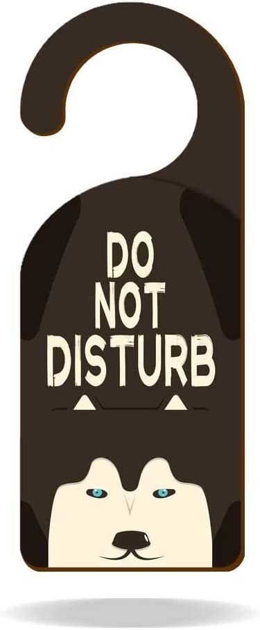 """XIAGEANA Do Not Disturb Husky Dog Wooden Door Knob Hanger Sign for Offices, Clinics, Law Firms, Hotels or During Therapy, Massage, Spa Treatment, Counseling Sessions 9"""" 3.54"""" Decoration"""