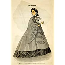 1862 Wood Engraving Victorian Lady Coat Wrap Passementerie Godey's Fashion Plate - Original In-Text Wood Engraving