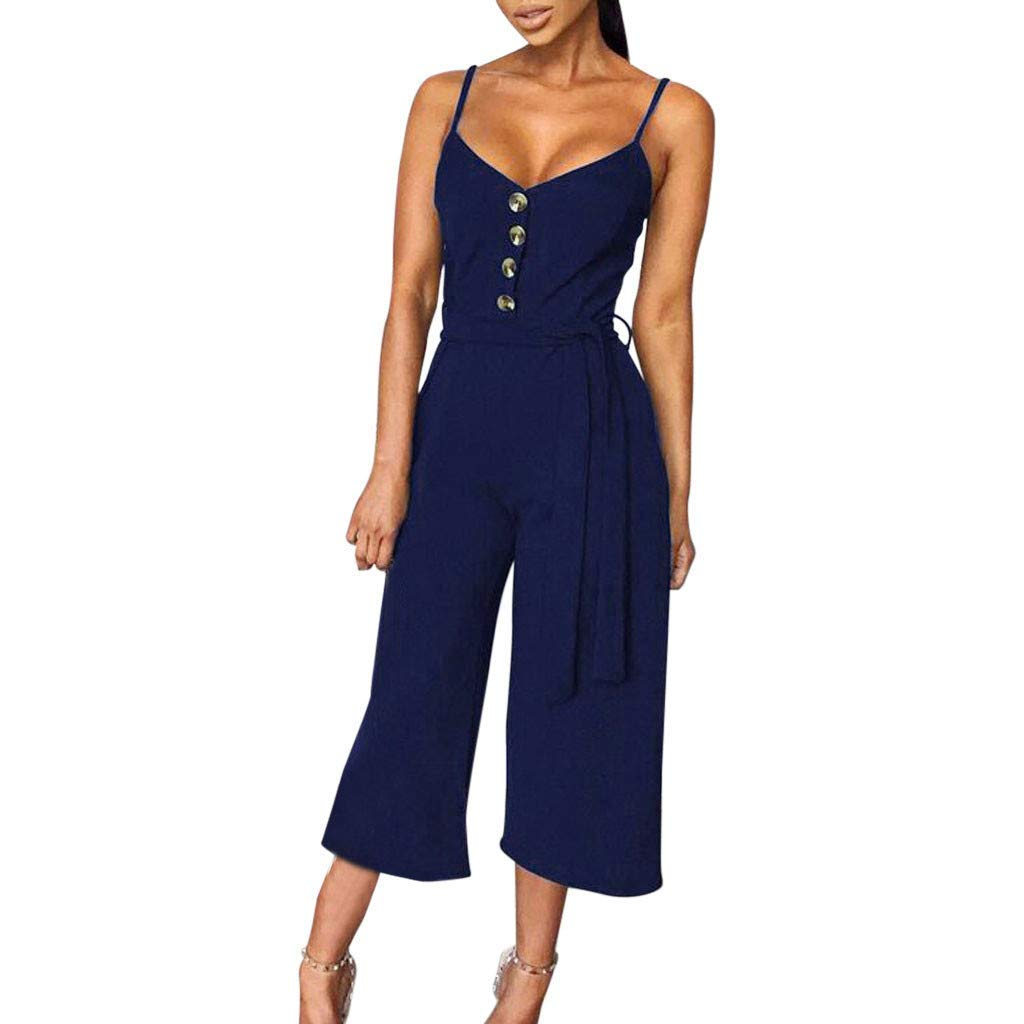 GWshop Ladies Fashion Elegant Jumpsuit Summer Jumpsuits for Women Casual Button Off Shoulder Sleeveless Rompers with Belt Blue S