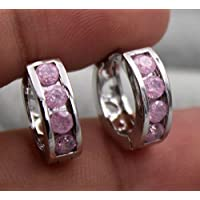 wanmanee 18K White Gold Filled- Round Pink Cherry Stone Topaz Cocktail Hoop Gems Earrings