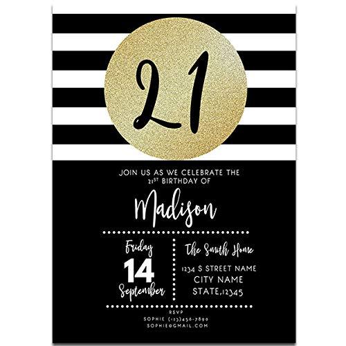 Amazon Com Stripes And Gold 21st Birthday Party Invitations Handmade