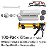 Atlas Pro 400ml (13.2oz) Empty Dual-Barrel 1:1 ratio cartridge kit with gun & nozzles 100-Pack