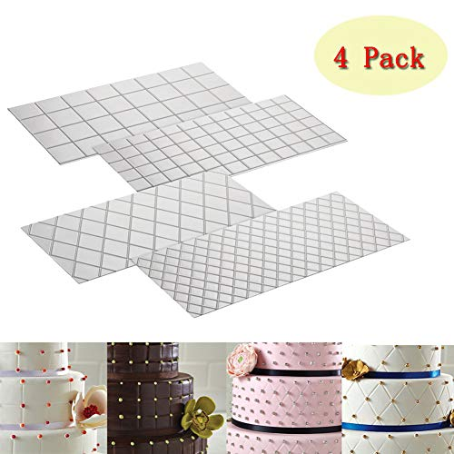(Cake Fondant Impression Mat Mold Diamond Quilted Grid Texture Embossed Lace Embossing Mat Cake Decorating Supplies for Cupcake Wedding Cake Decoration Tools(Set of)