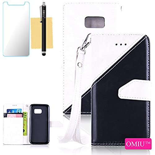 Galaxy S7 Case,S7 Case,OMIU(TM) Premium PU Leather Stitching Fabric Patterns Design Card Slots Stand Wallet Case for Samsung Galaxy S7-(White+Black) Sales