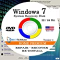 WINDOWS 7 - 64 Bit DVD SP1, Supports Home Premium. Recover, Repair, Restore or Re-install Windows to Factory Fresh!