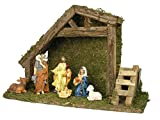 Table Top Nativity Scene - 8-Inch Wooden Stable with 6 Ceramic Figures - Holiday Nativity Set