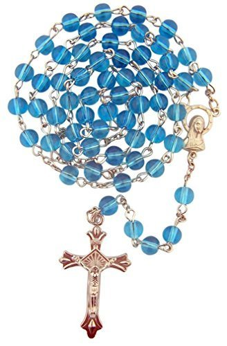 (Blue Glass Beads Rosary, 6mm)