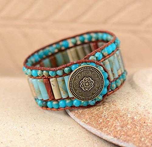 Tara Jasper Leather Cuff Bracelet | Single Wrap Jasper Beaded Button Bracelet | Ocean Jasper Bracelet | Bohemian Bracelet Chan Luu Style