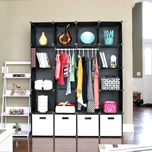 UNICOO Multi Use DIY Plastic 20 Cube Organizer, Bookcase, Storage Cabinet, Wardrobe Closet Black with White Door (Deeper Cube) (Door Wardrobe Plastic)