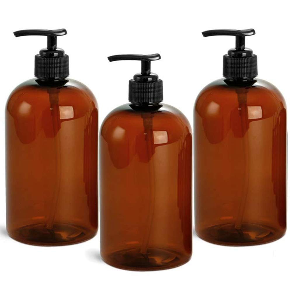 EZPRO USA Pump Bottles Amber Empty Plastic 16 oz Amber for Soap Lotion Shampoo Cream Conditioner, Pack of 3, Made in USA