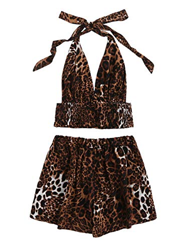 Print Spandex Halter Top - SOLY HUX Women's 2 Piece Leopard Print Backless Halter Top with Shorts Set Multicolor-2 L