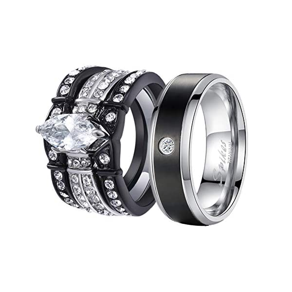 Wedding Band Sets.Mabella His And Hers Wedding Ring Sets Couples Matching Rings Black Women S Stainless Steel Cubic Zirconia Engagement Ring Bridal Sets Men S