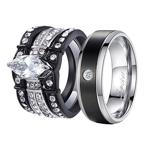 MABELLA His and Hers Wedding Ring Sets Couples Matching Rings Black Women's Stainless Steel Cubic Zirconia Wedding Engagement Ring Bridal Sets & Men's Titanium Wedding Band