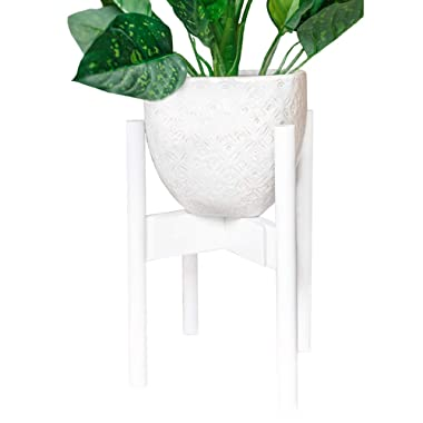 Indoor Plant Stand | White Wood Modern Mid Century Planter Pot Holder | Large Wooden Flower Planters Stands with Adjustable Sizes for Plants and Pots 🌿 by Simple Society