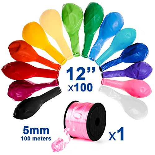 12 Inches Assorted Color Latex Balloons for Christmas, Black Friday, Happy Birthday, Surprised Party - 100 Pack