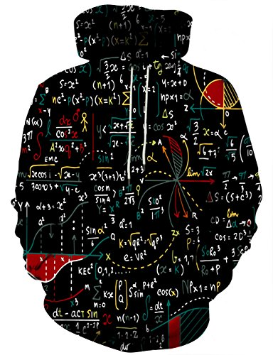 Syaimn Mens Womens Unisex 3D Printed Galaxy Pattern Plus Size Hoodied X-Large