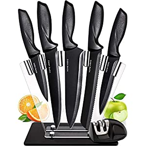 Chef Knife Set Knives Kitchen Set – Stainless Steel Kitchen Knives Set Kitchen Knife Set with Stand – Plus Professional Knife Sharpener – 7 Piece Stainless Steel Cutlery Knives Set by Home Hero