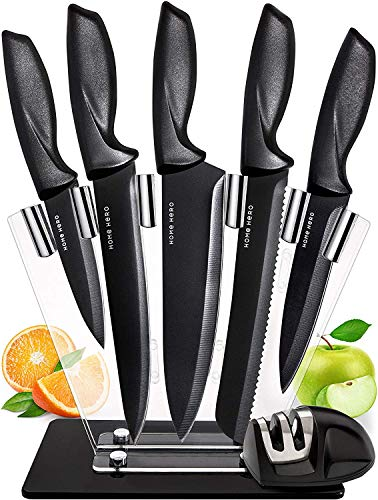 Chef Knife Set Knives Kitchen Set - Stainless Steel Kitchen Knives Set Kitchen Knife Set with Stand - Plus Professional Knife Sharpener - 7 Piece Stainless Steel Cutlery Knives Set by Home Hero (On Sets Knife Sale Kitchen)
