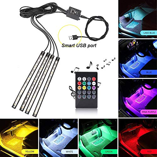 Interior Car LED Strip Light, Xiphoer Multi-Color RGB 4pcs 48 LEDs Underdash Foot Lighting Kit. Sound Active Function and Wireless Remote Control. DC 5V, Smart USB Port