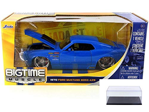 Diecast Car & Display Case Package - 1970 Ford Mustang Boss 429, Royal Blue - JADA 90022-MJ - 1/24 Scale Diecast Model Toy Car w/Display Case