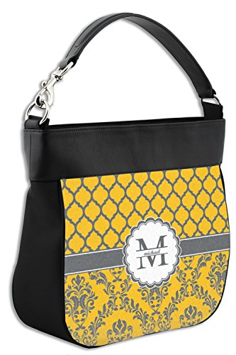 Purse Genuine Damask w Personalized Front Hobo Trim Leather Moroccan amp; qwnftpX