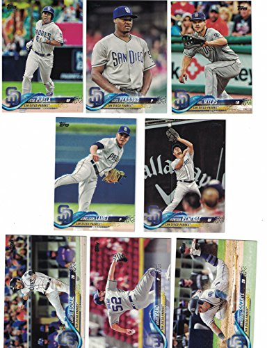 San Diego Padres / Complete 2018 Topps Series 1 Baseball 8 Card Team Set! PLUS 2017 Topps Series 1 & 2 Padres Team - Shipping Myer Free
