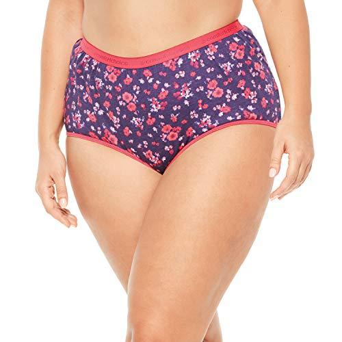 Comfort Choice Women's Plus Size 10-Pack Pure Cotton Full-Cut Brief - Rich Violet Floral Pack, 10