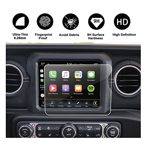 2018 Jeep Wrangler JL Uconnect Touch Screen Protector, R RUIYA HD Clear Tempered Glass Protective Film Against Scratch High Clarity (8.4-Inch)