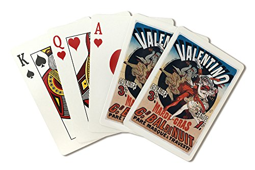 Valentino - Mardi Gras Vintage Poster (artist: Cheret) France c. 1869 (Playing Card Deck - 52 Card Poker Size with Jokers)