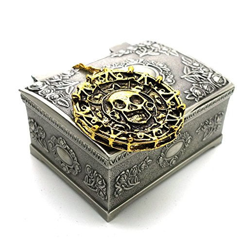 Price comparison product image Ruimeng Vintage Pirates of the Caribbean Aztec Skull Coin Pendant Necklace (Antique Gold) with Jewelry Box,Pirates of the Caribbean Necklace,Great Gift for Pirates of the Caribbean Fans Christmas Gifts