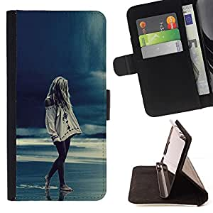 Momo Phone Case / Flip Funda de Cuero Case Cover - Chica Rain Blue Ocean Piernas Noche - Huawei Ascend P8 (Not for P8 Lite)