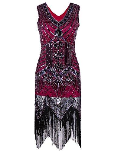 Whoinshop Women 1920s Gatsby Retro Sequin Tassel Beaded Fringed Flapper Dress (XL, Hot Pink)