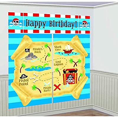 amscan Pirate's Treasure Themed Party Scene Setter Decorating Kit, Blue: Toys & Games