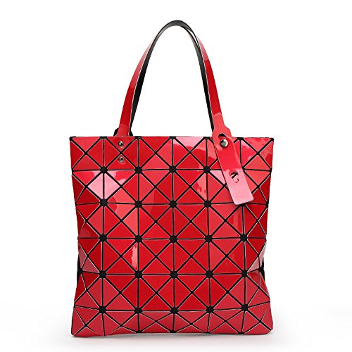 AASSDDFF Bolso Hembra Plegado Bolso Cuadros Geométrico Bolso Casual de Moda Bolso BAO Mujeres Bolso BaoBaoMochila Bolso de Hombro,CaféLigero rojo