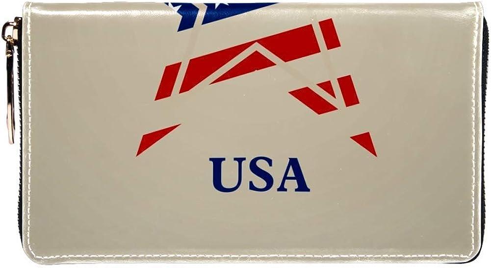 Womens Zip Around Wallet and Phone Clutch,Usa Stars Logo Print,Travel Purse Leather Clutch Bag Card Holder Organizer Wristlets Wallets