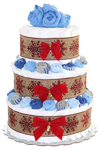 Three Tier Diaper Cake (Classic Christmas Diaper Cake Decorated with Baby Socks and Bodysuits (3 Tier, Boy - Blue))