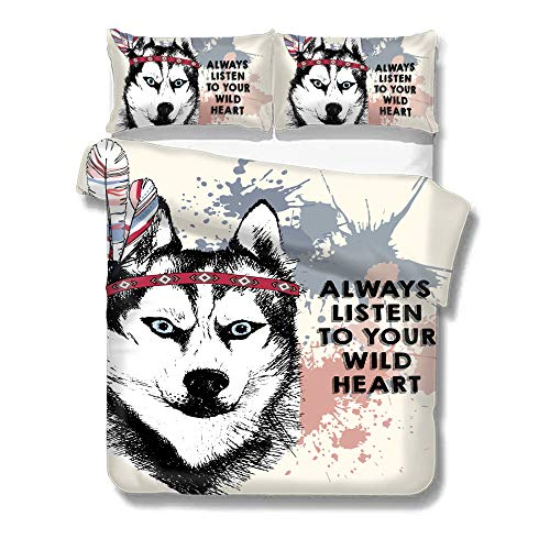 Husky Always Listen to Your Wild Heart Duvet Cover Set Twin Size,Bedding 3 Pieces Sets Decorative,Soft & Comfortable, Pillow Shames,Kids Bedding Decor, style-14